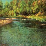 John Ottis Adams (1851-1927)  Iridescence of a Shallow Stream  Oil on canvas, 1902  28 x 42 inches (71.12 x 106.83 cm)  Swope Art Museum